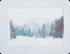 作品1 水彩画 雪の森林